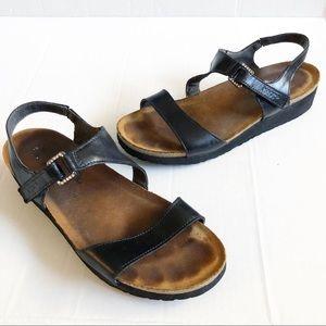 Naot Pamela Black Crystal Buckle Leather Sandals